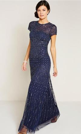 fdbc329927de Adrianna Papell Short Sleeve Fully Beaded Gown, Size: 16 | Mother of ...