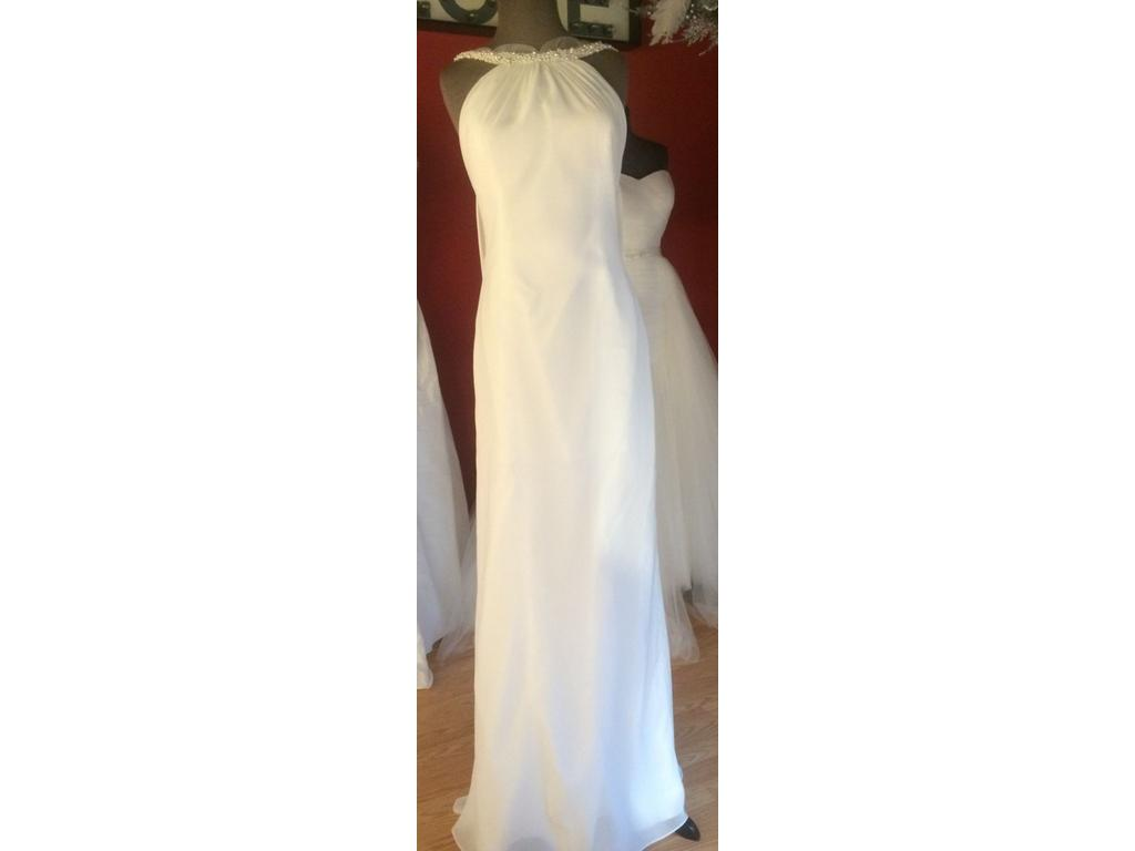 Other jeweled halter low back chiffon gown 1 750 size for Low back wedding dresses for sale