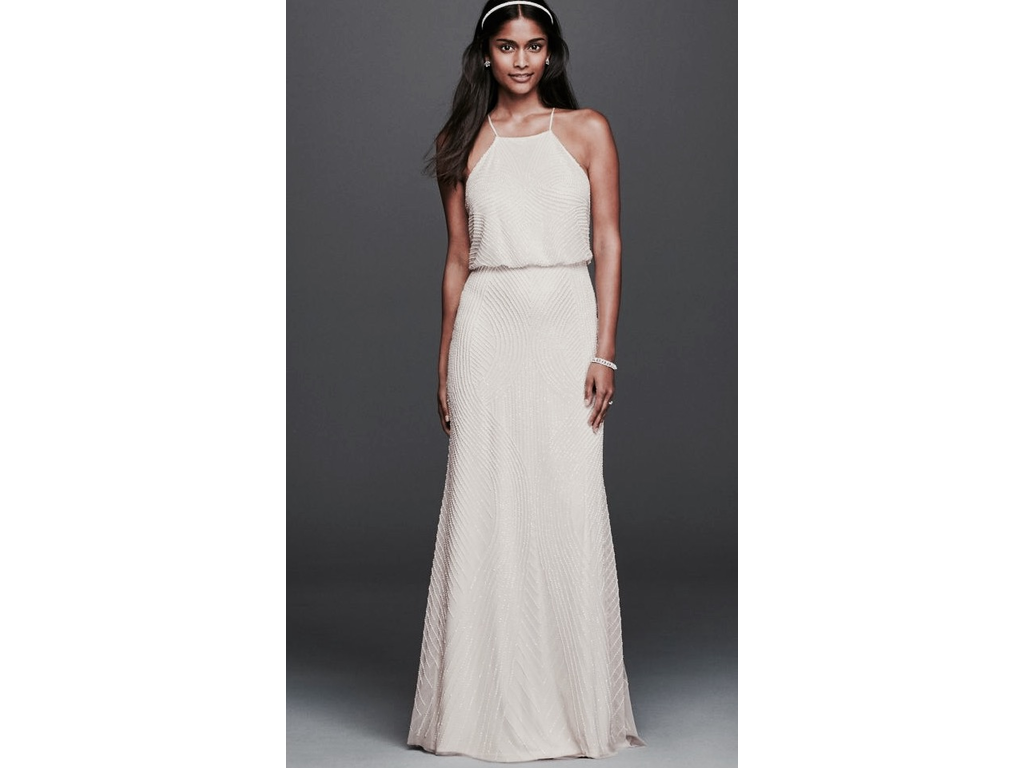Other Halter Sheath Casual Wedding Dress With Beading