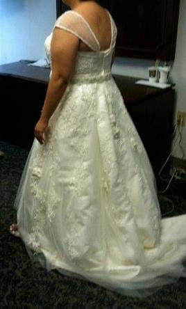 Oleg Cassini Plus Size Wedding Ball Gown with Lace Applique 20W