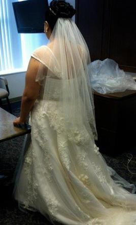 Oleg Cassini Plus Size Wedding Ball Gown with Lace Applique Wedding ...