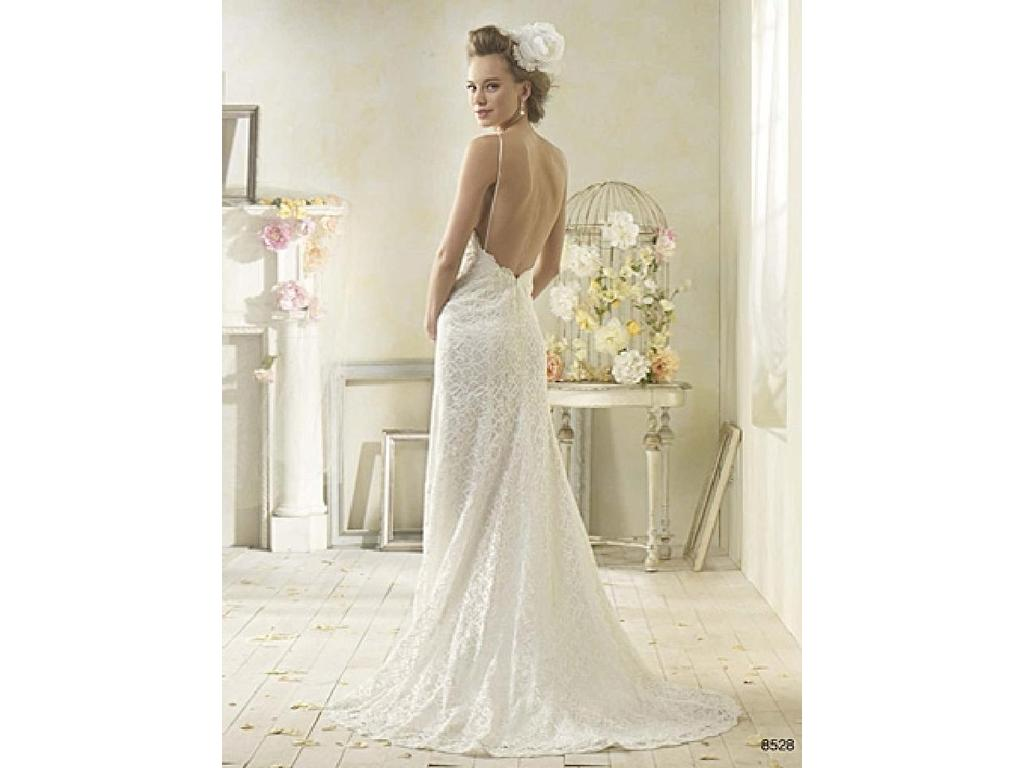 Alfred Angelo Low Back Modern Vintage Wedding Dress / 8528, $900 ...