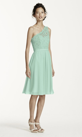 David's Bridal Short One Shoulder Corded Lace Dress (F15711) 4
