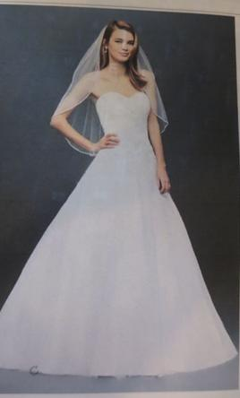 David's Bridal Strapless Tulle Wedding Dress Lace Applique/WG3740 4
