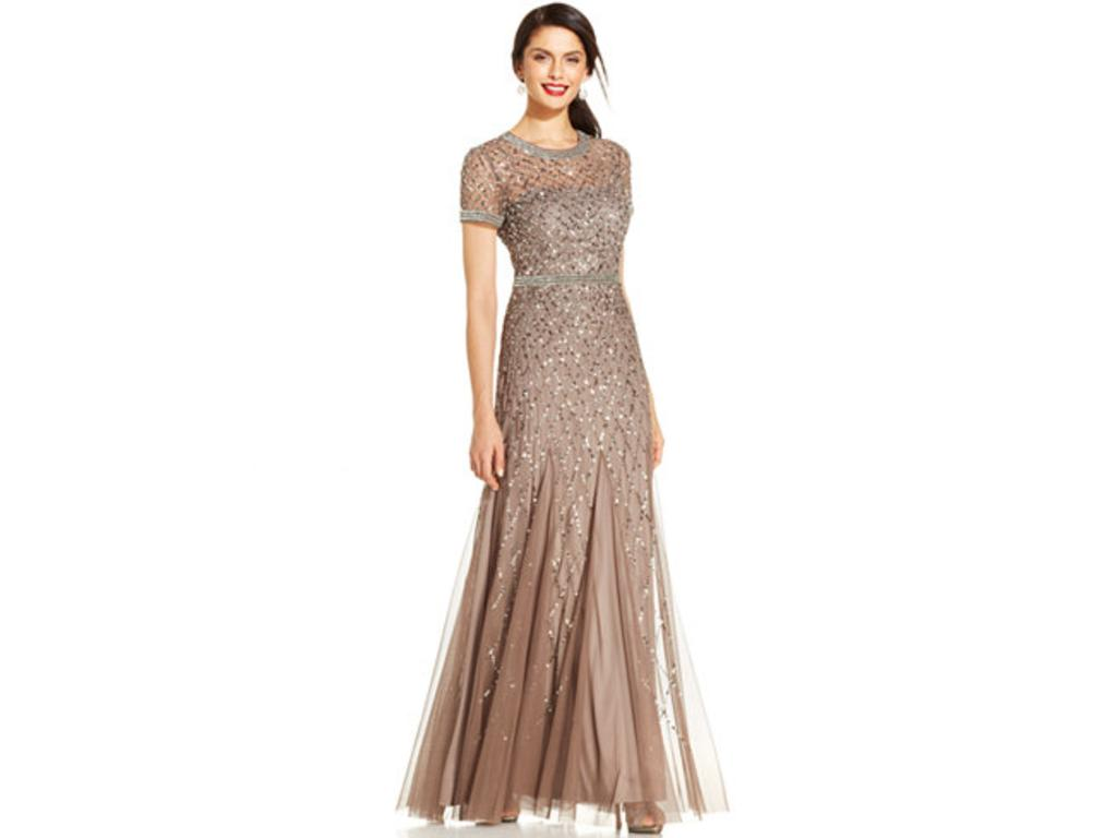 Adrianna papell cap sleeve fully beaded gown size 4 for Fully beaded wedding dresses