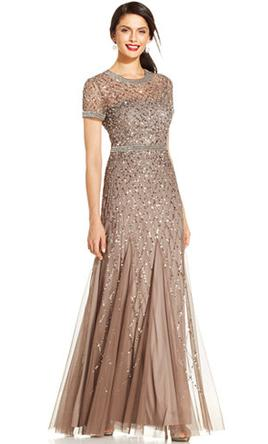 b7b26dcee95b Adrianna Papell Cap Sleeve Fully Beaded Gown Mother of the Bride ...