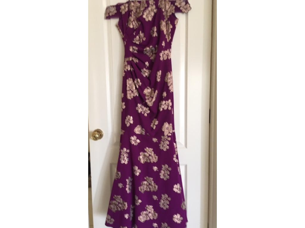Badgley Mischka Off The Shoulder Orchid Floral Gown, Size