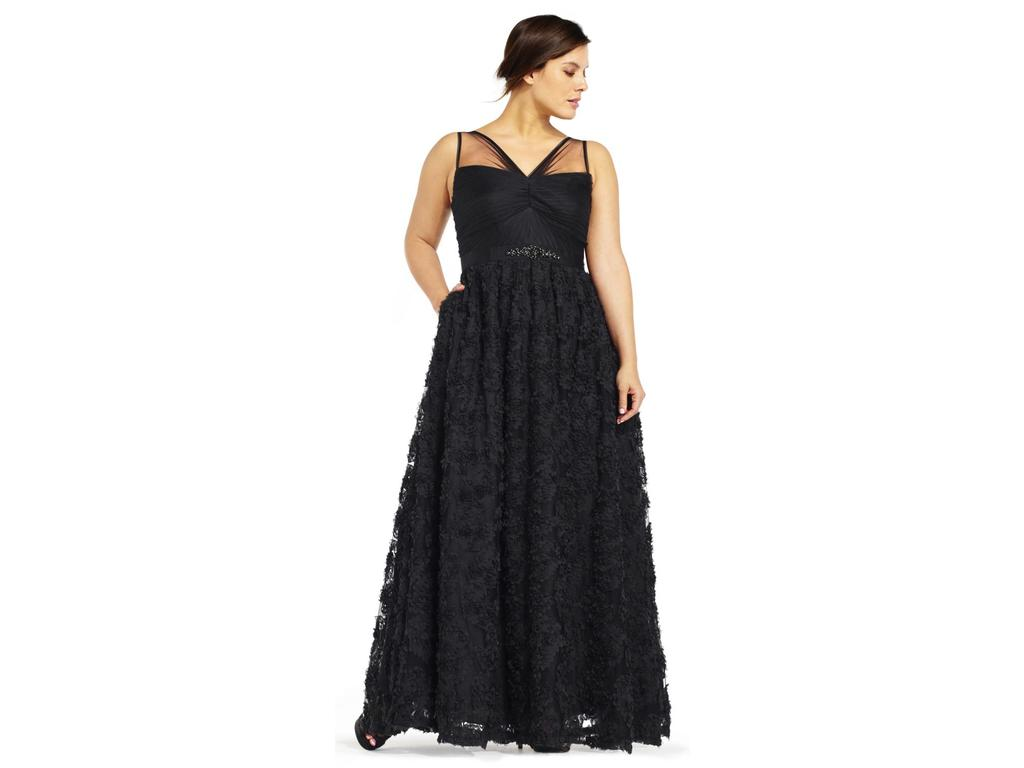 Adrianna Papell Embellished Petal Chiffon Ball Gown, Size: 20W ...