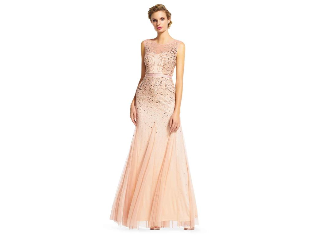 Adrianna Papell Long Beaded Illusion Neck Gown, Size: 16 ...