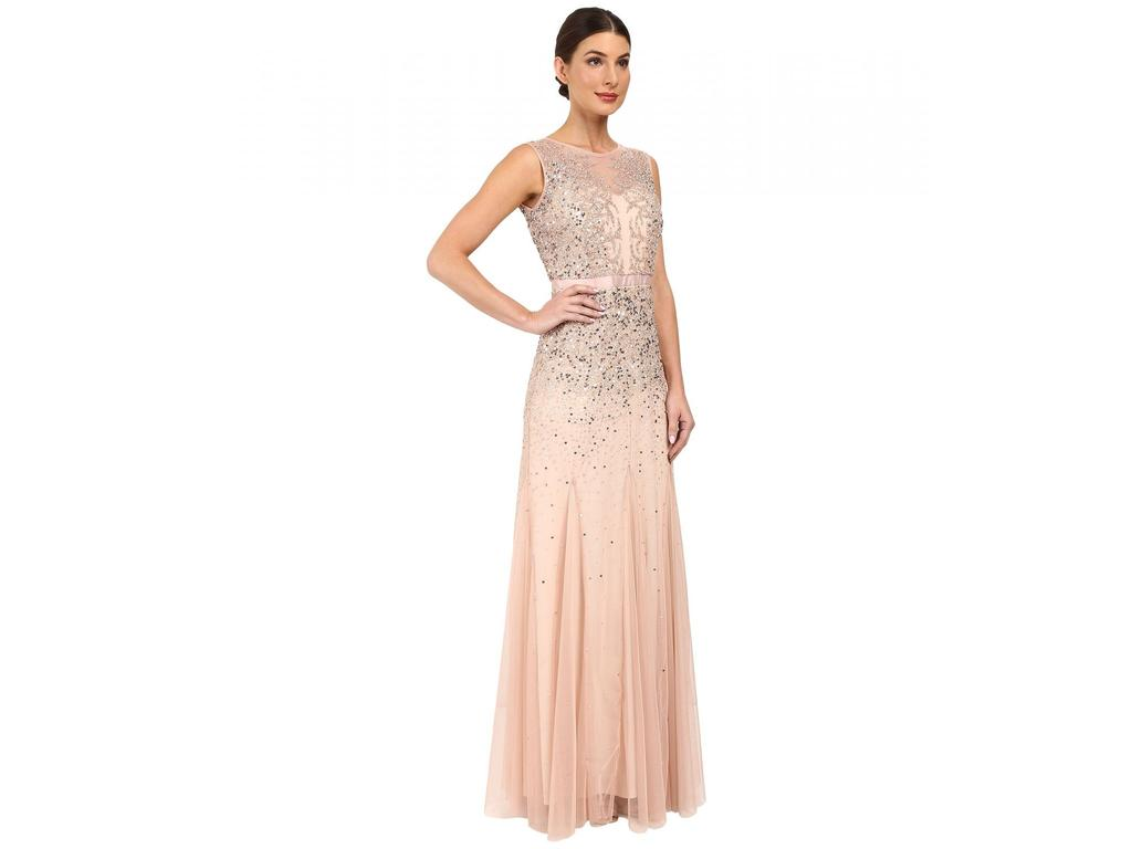 Adrianna papell long beaded illusion neck gown size 16 for Adrianna papell wedding guest dresses