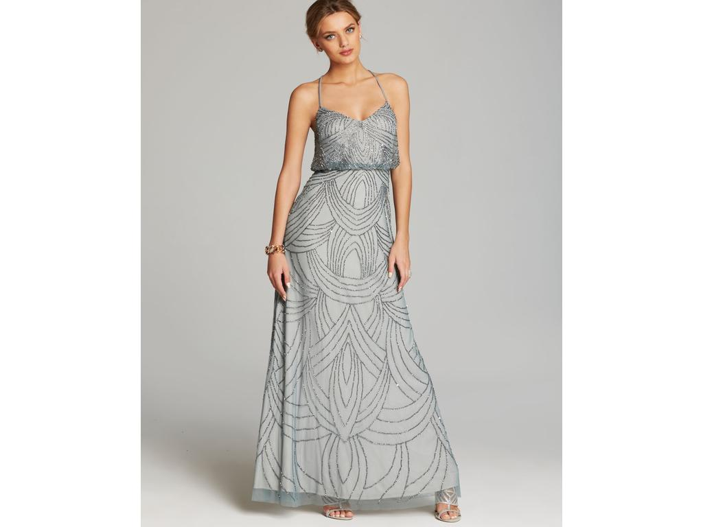 Adrianna Papell Art Deco Beaded Blouson Gown Style# 09186670, Size ...