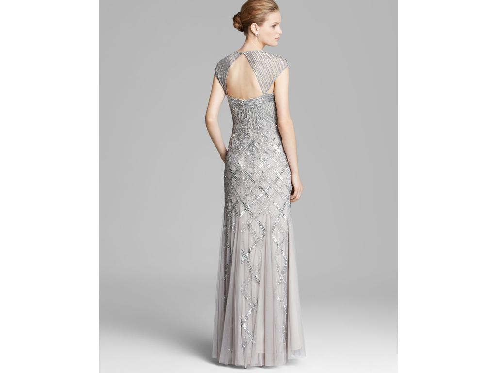 Adrianna Papell CAP SLEEVE BEADED GOWN - PLATINUM, Size: 14 ...