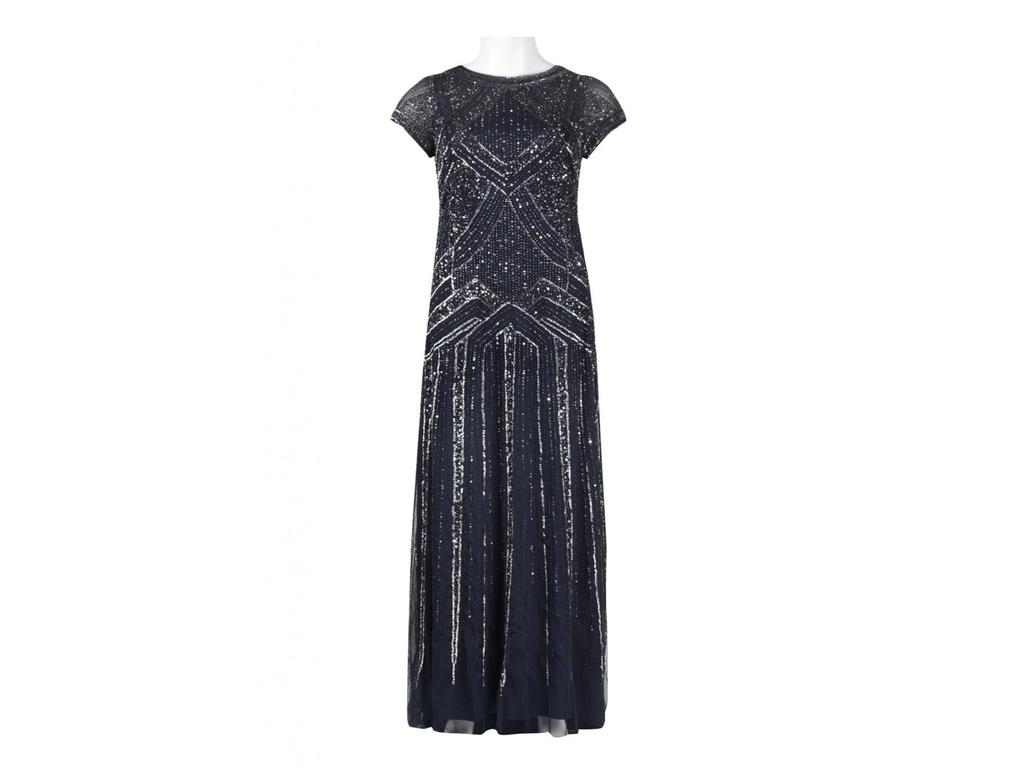 Adrianna Papell Navy Blue Geometric Beaded Gown, Size: 18W   Mother ...