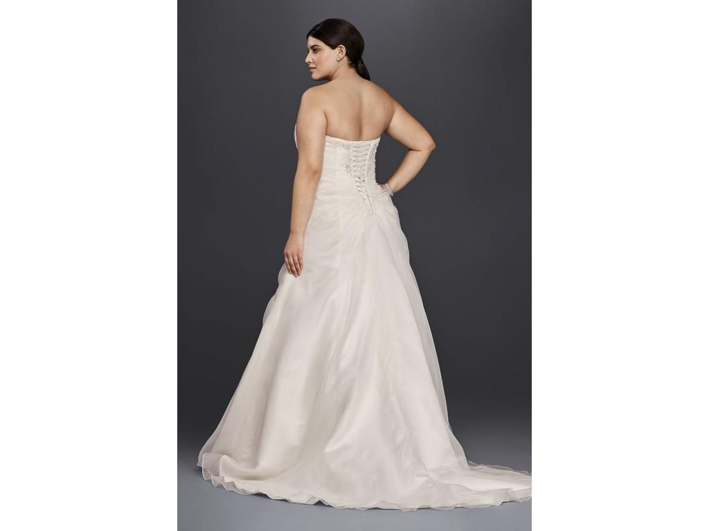 David 39 s bridal organza and lace plus size a line 300 for Wedding dresses under 300