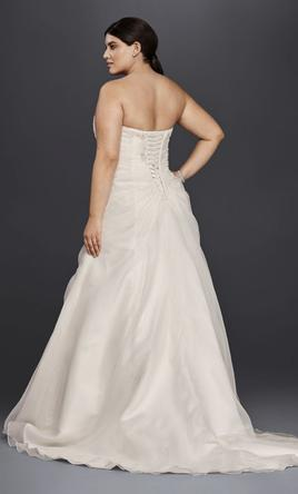 David 39 s bridal organza and lace plus size a line 250 for Used plus size wedding dress