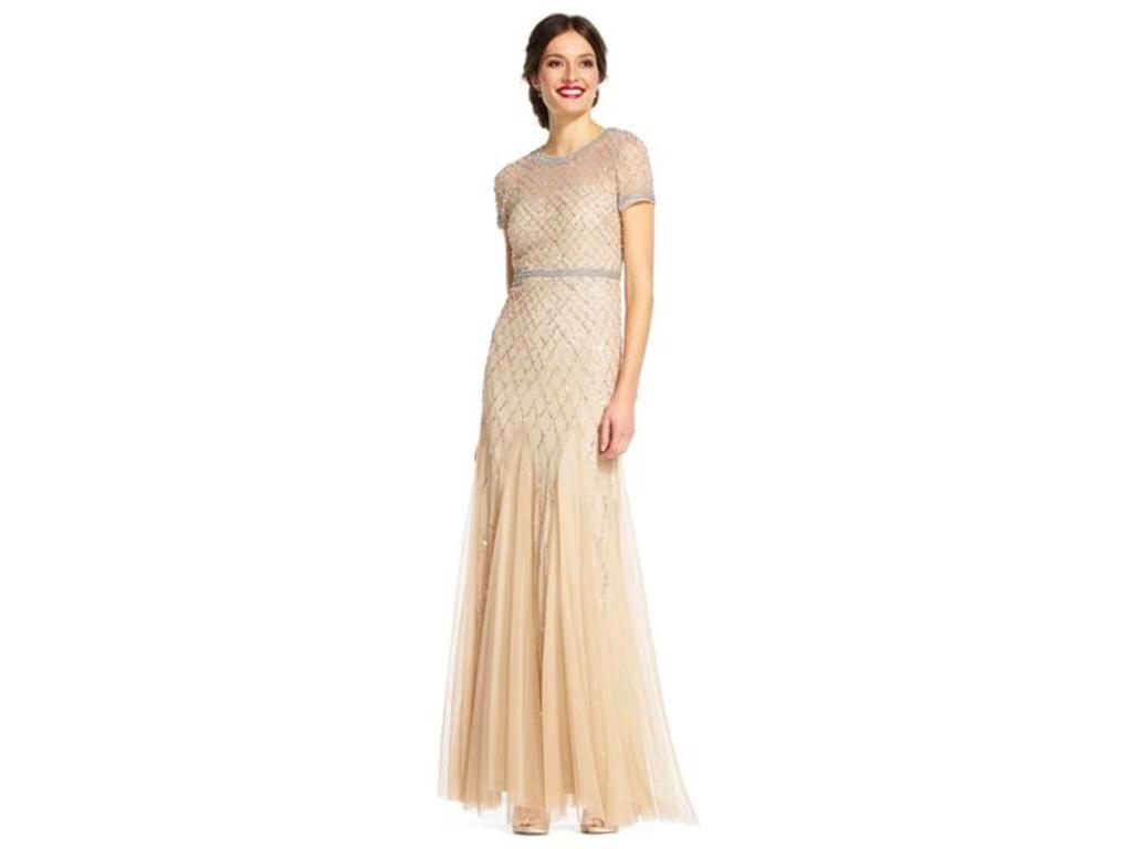 Adrianna Papell Cap Sleeve Beaded Gown/09190494, Size: 10 ...
