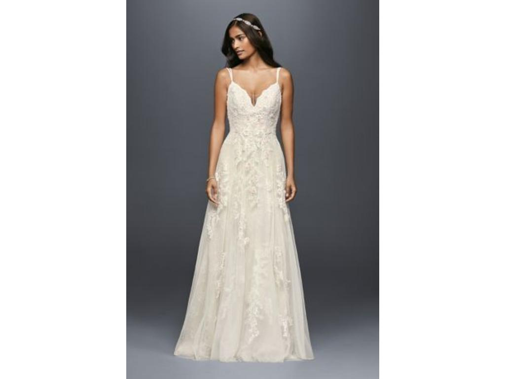 Pin It · Melissa Sweet Scalloped Aline Wedding Dress With Double Straps 10: Straps A Line Wedding Dress At Reisefeber.org