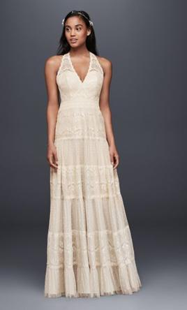 Pin It · Other Viola Chan Mixed Lace Halter Wedding Dress 2