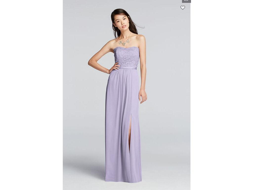 7a5eaee1300ae David's Bridal Lace and Mesh Long Strapless Dress F18095, Size: 2 ...
