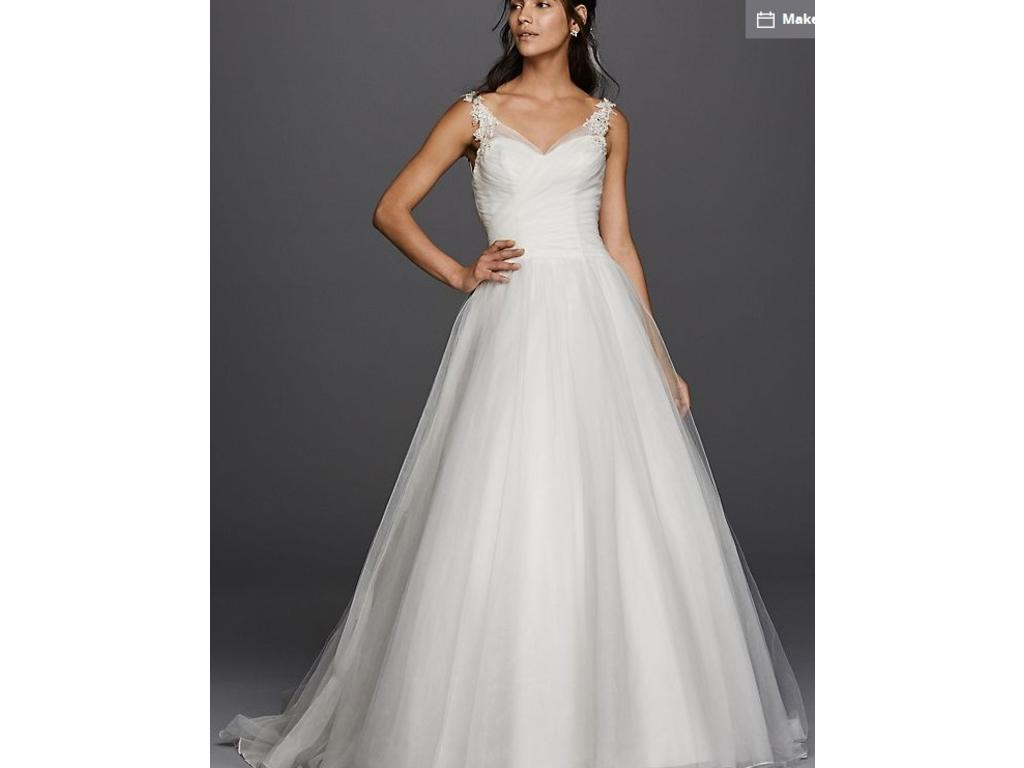 David 39 S Bridal Tulle Ball Gown Wedding Dress With Illusion