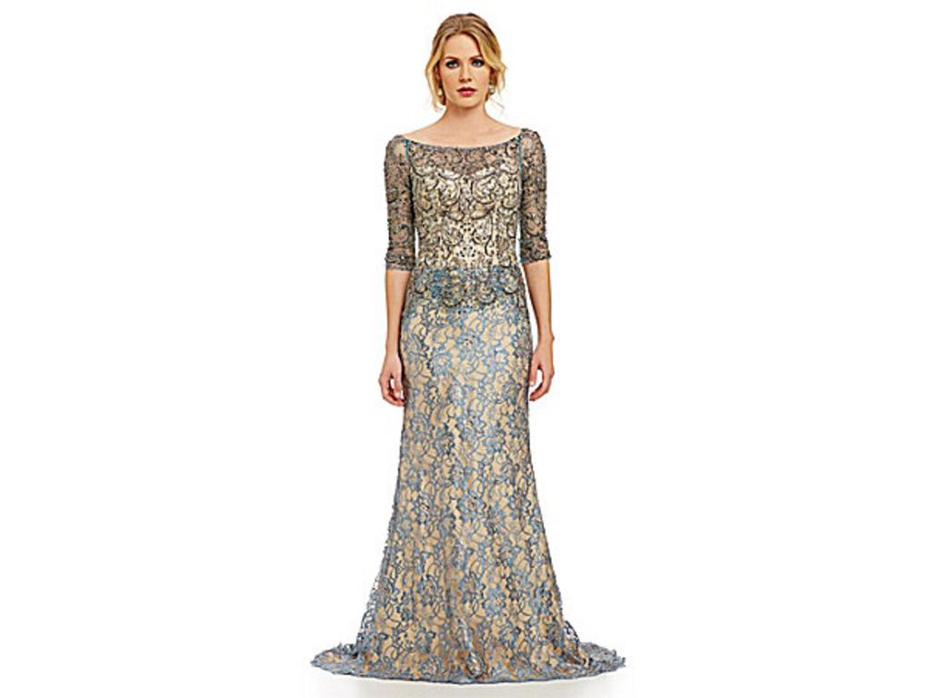 Other Mac Duggal Beaded Illusion Lace Gown, Size: 16 | Mother of the ...