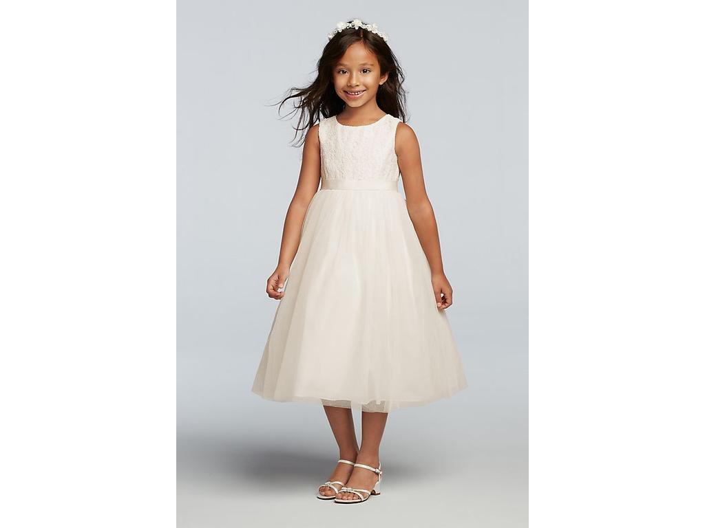 e01ca0fee David's Bridal Lace and Mesh Tank Flower Girl Dress, Size: 0   Flower ...