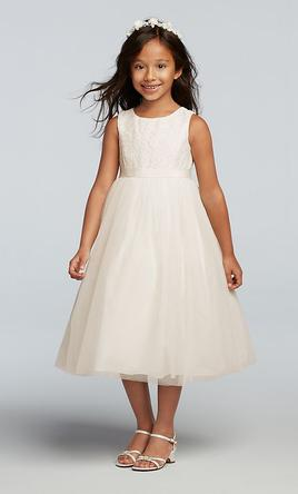 33ea4fa8d9d Pin it · David s Bridal Lace and Mesh Tank Flower Girl Dress