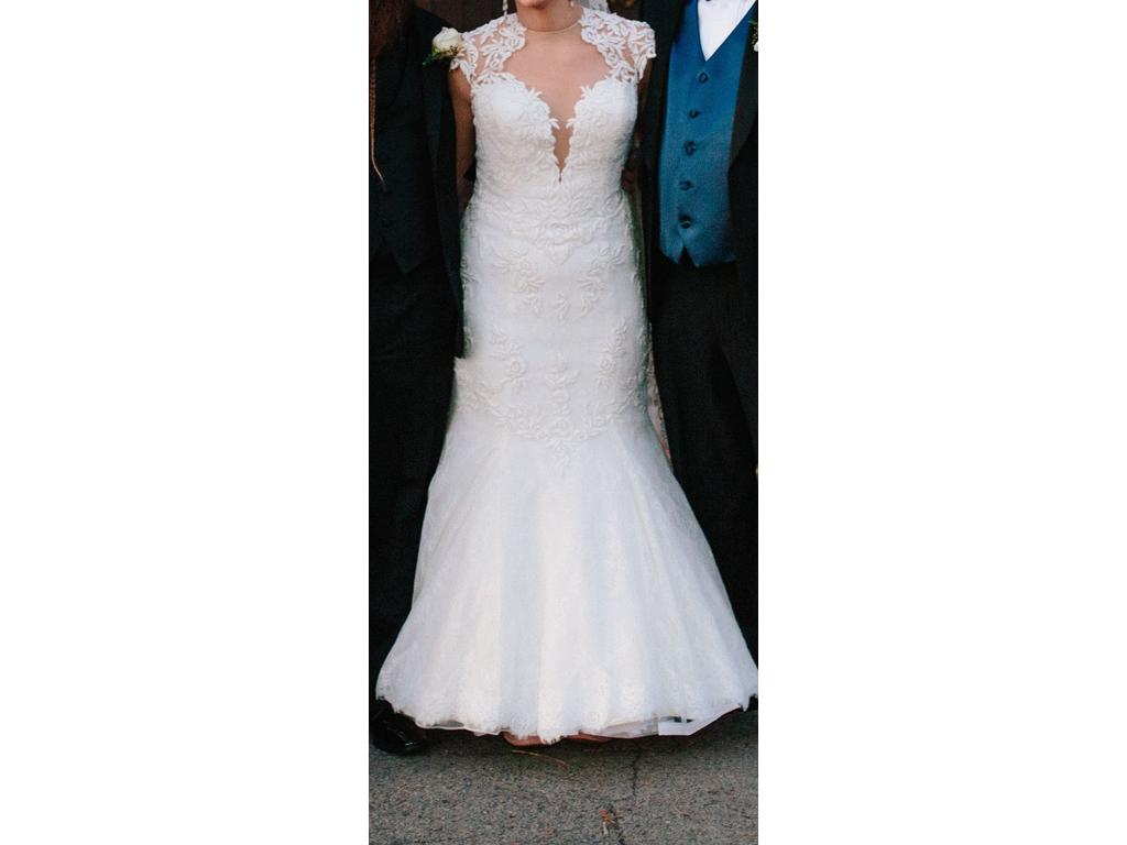 Justin Alexander Plunging Jewel Neck Venice Lace Bridal Gown 8796 ...