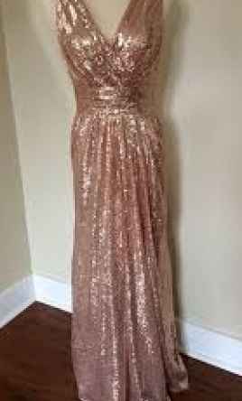 bbff860e93f Pin it · Other Adas Bridal Rose Gold Sequin V-Neck Evening Gown 14