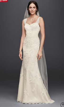 David\'s Bridal Petite Lace Wedding Dress with Tank Straps, $299 Size ...