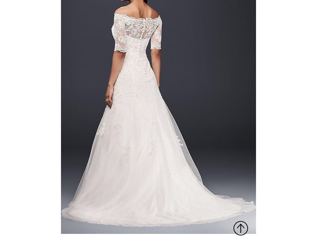 A Line Wedding Gown With Sleeves: David's Bridal 3/4 Sleeve A Line Off The Shoulder Wedding