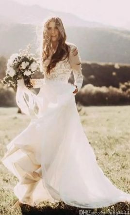 Country Wedding Dresses with Sleeves