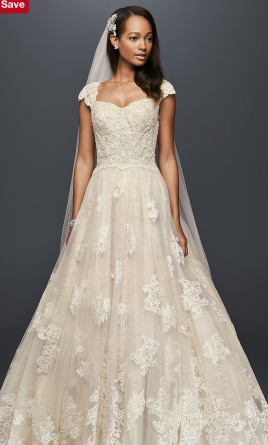 Oleg Cassini Cap Sleeve Lace Wedding Ball Gown 1410580, $1,200 Size ...