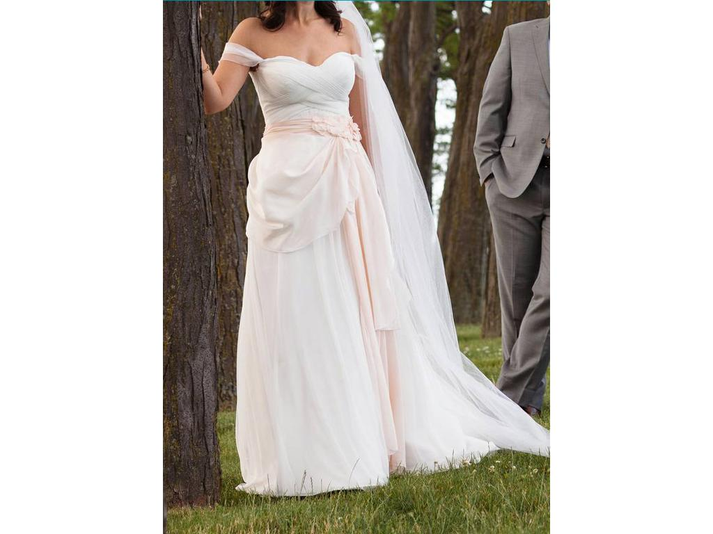 A Line Wedding Gown With Sleeves: Galina Tulle A-line Wedding Dress W/ Swag Sleeves WG3779