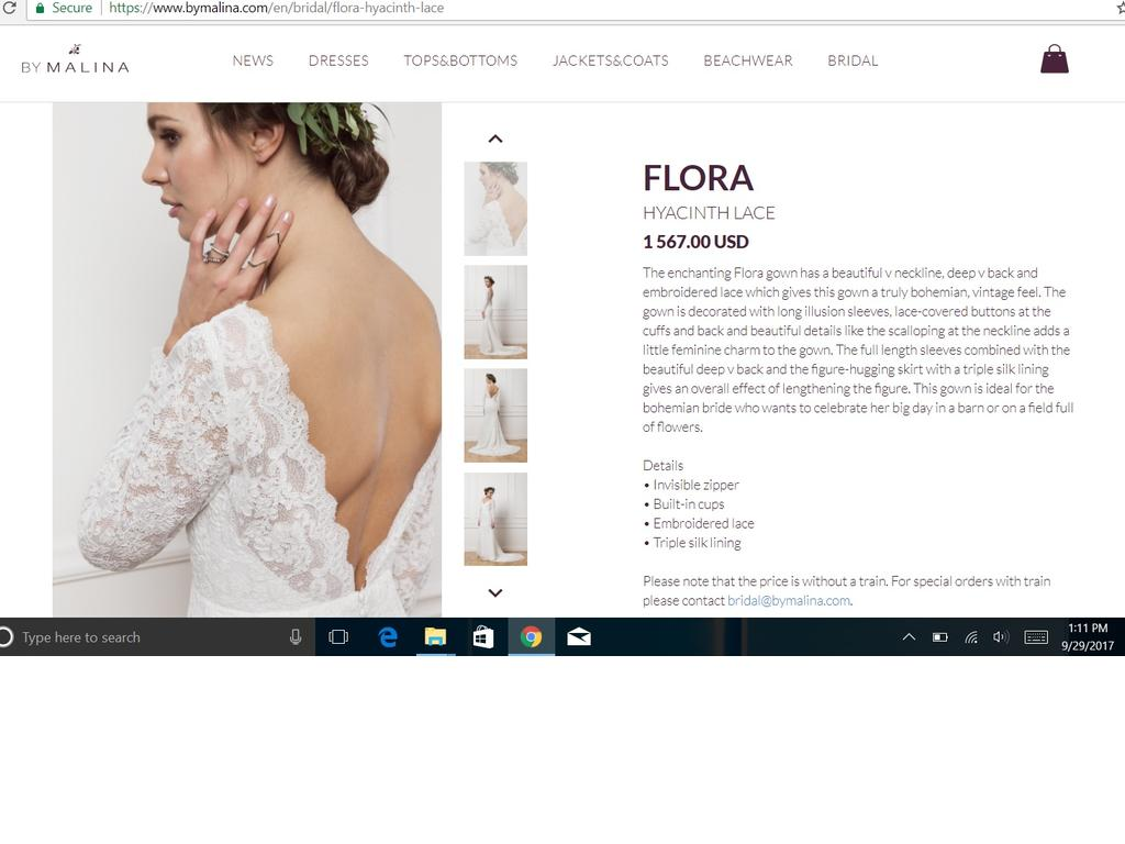 71c5f3b3c2de Other By Malina - Flora Wedding Dress | Used, Size: 6, $650