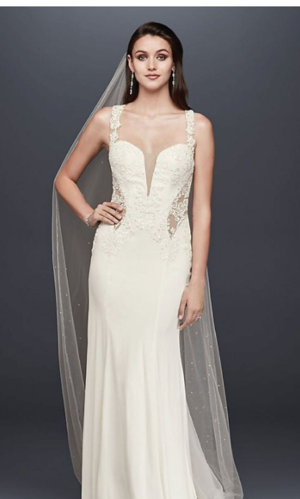 David\'s Bridal Beaded Lace Wedding Dress with Illusion Details, $360 ...