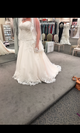 David\'s Bridal Beaded Lace and Tulle Plus Size Wedding Dress, $550 ...