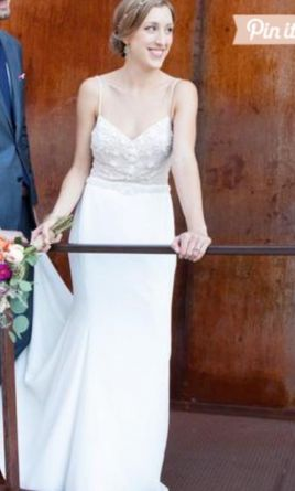 Ivory wedding dress compared to white smokers