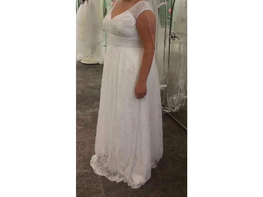 Galina plus size sheath wedding dress with cap sleeves for Wedding dresses for size 16