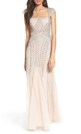 Adrianna papell cap sleeve envelope embellished mesh gown for Adrianna papell wedding guest dresses