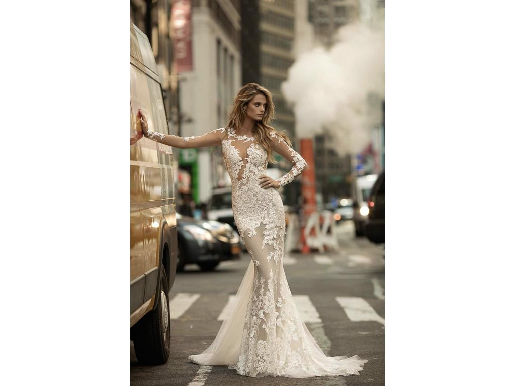 Mermaid Wedding Gowns With Sleeves: Berta Illusion Long Sleeve Mermaid Gown 17-144, $7,500