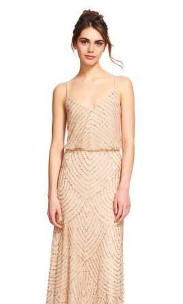 Pin It Adrianna Papell Embellished Blouson Gown Champagne Gold