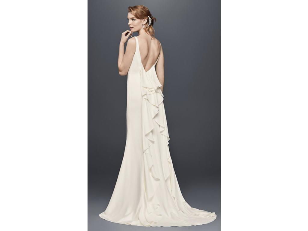 David's Bridal High-Neck Crepe Wedding Dress With Ruffled