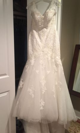 David\'s Bridal Jewel Mermaid Wedding Dress with Open Back, $455 Size ...