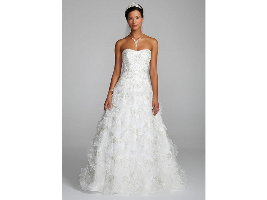 David\'s Bridal Beaded Wedding Gown with Tiered Scallop Skirt, $400 ...