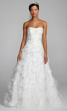Davids bridal beaded wedding gown with tiered scallop skirt 480 davids bridal beaded wedding gown with tiered scallop skirt 6 junglespirit Choice Image