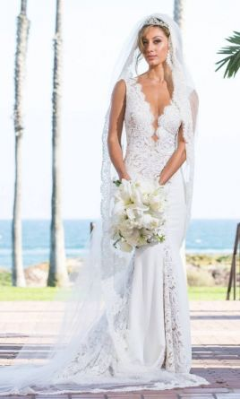 Berta 15 Plunging V Neck Cap Sleeve Lace Tulle Dress 4