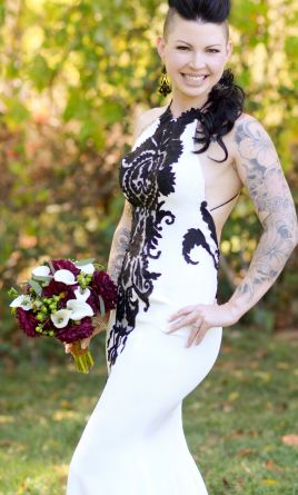 Black and White Wedding Dresses with Sleeves
