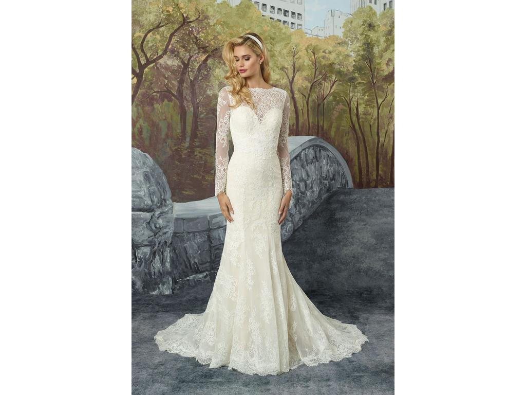 1a34098fc43d Pin it · Justin Alexander Chantilly Lace Fit and Flare with Illusion Sleeves  16