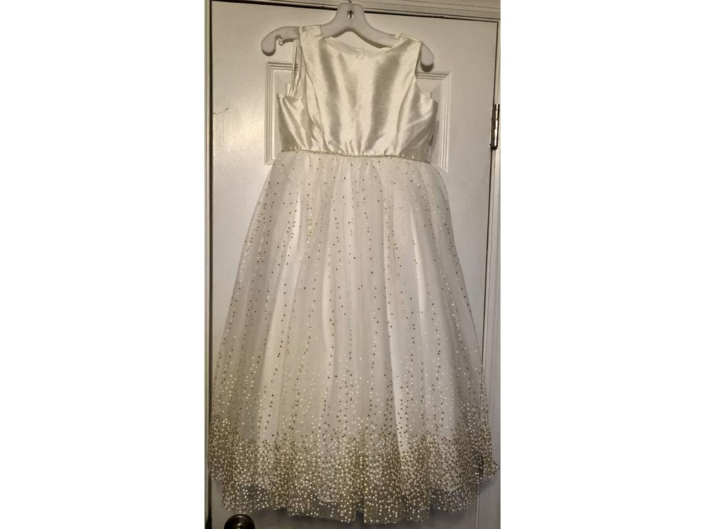 Pin it · David's Bridal Ivory With Gold Sparkle Flower Girl Dress